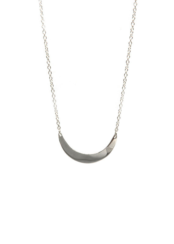 Anastasia Mannix, Crescent Moon Necklace, silver necklace, silver jewellery, moon jewellery, crescent moon, moon necklace, silver moon