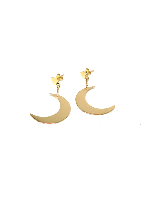 Crescent Moon Earrings, Anastasia Mannix, Crescent Moon, moon, 9ct yellow gold, yellow gold, gold jewellery, gold earrings, gold moon, gold moon, gold earring, gold jewellery, handmade jewellery, moon jewellery, moon earring, crescent moon, lunar earring