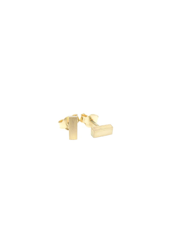 Yellow Gold Rectangle Studs by Anastasia Mannix