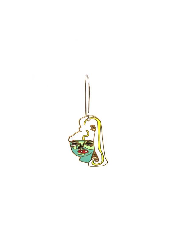 Current Mood Earrings, Anastasia Mannix, hard enamel earrings, face earrings, Alice Dolling illustration