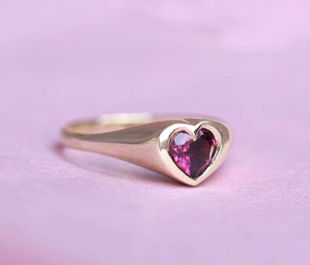 heart signet ring, pink tourmaline, aquamarine