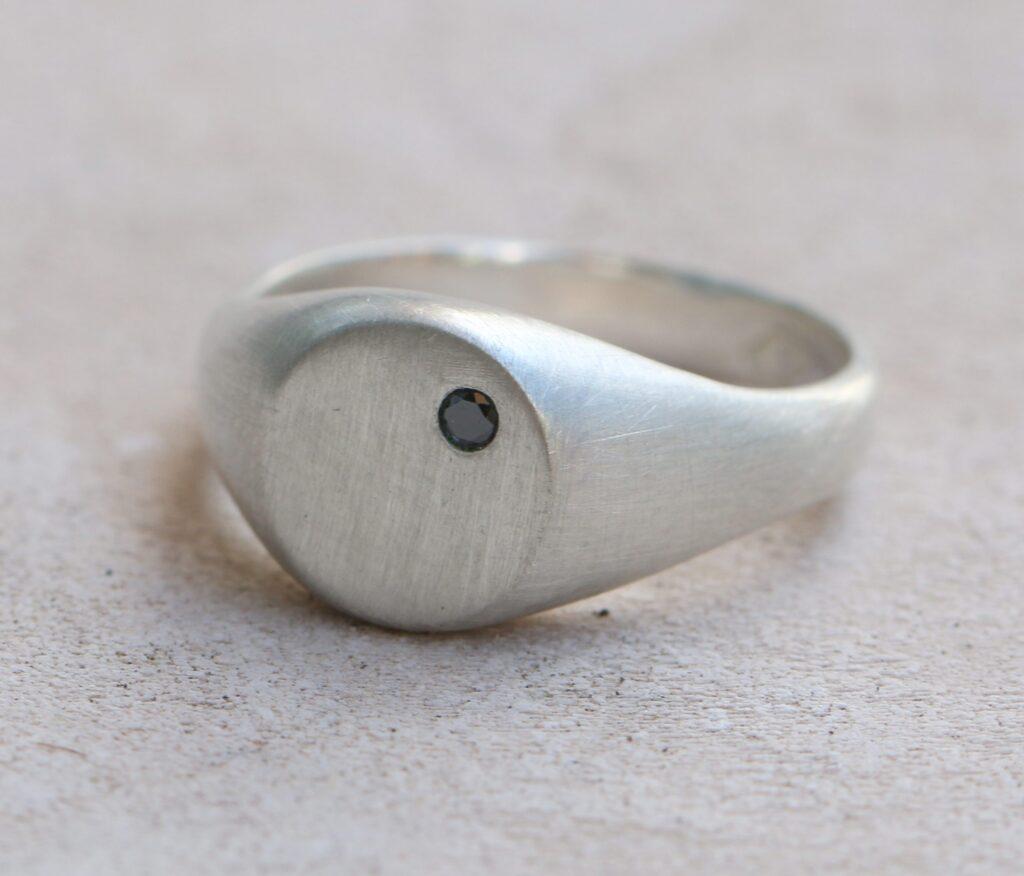 Black Diamond Signet Ring, gold, silver, black diamond, signet ring