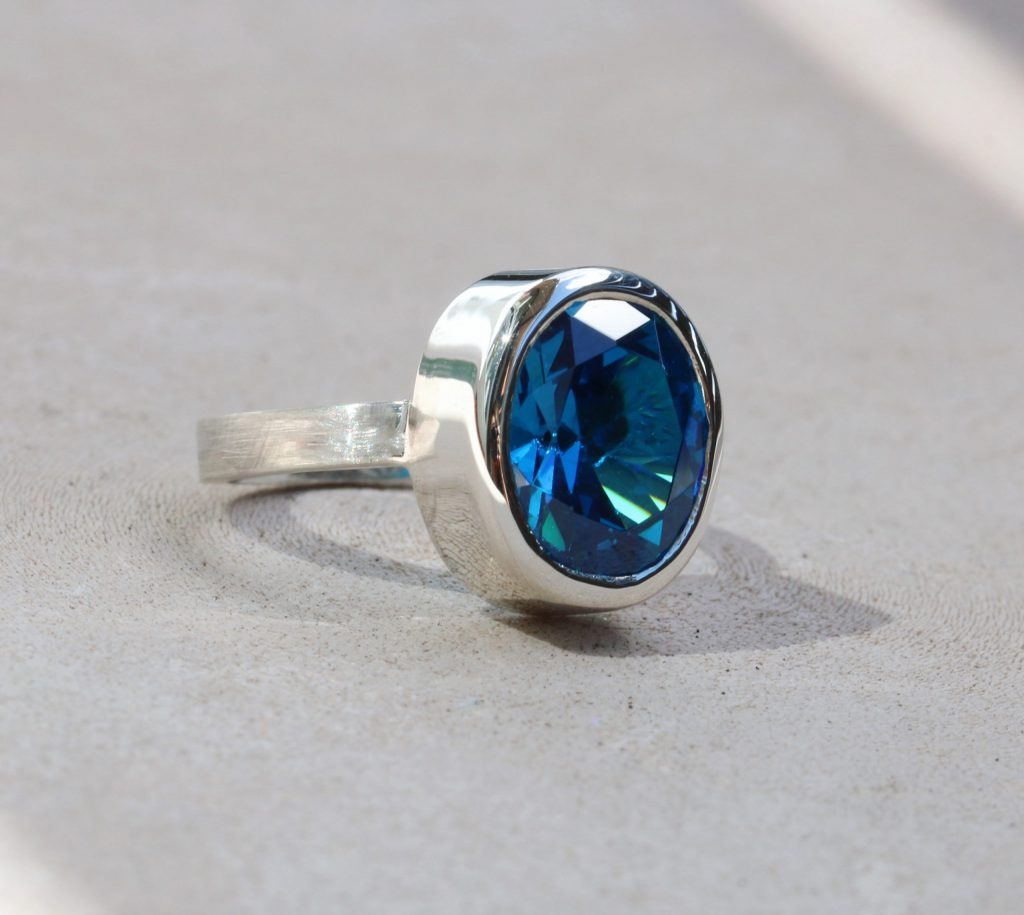 Albia's Ring, silver, cubic zirconia, ring