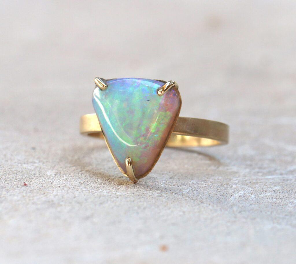 Australian Opal Ring, australian opal, gold, handmade