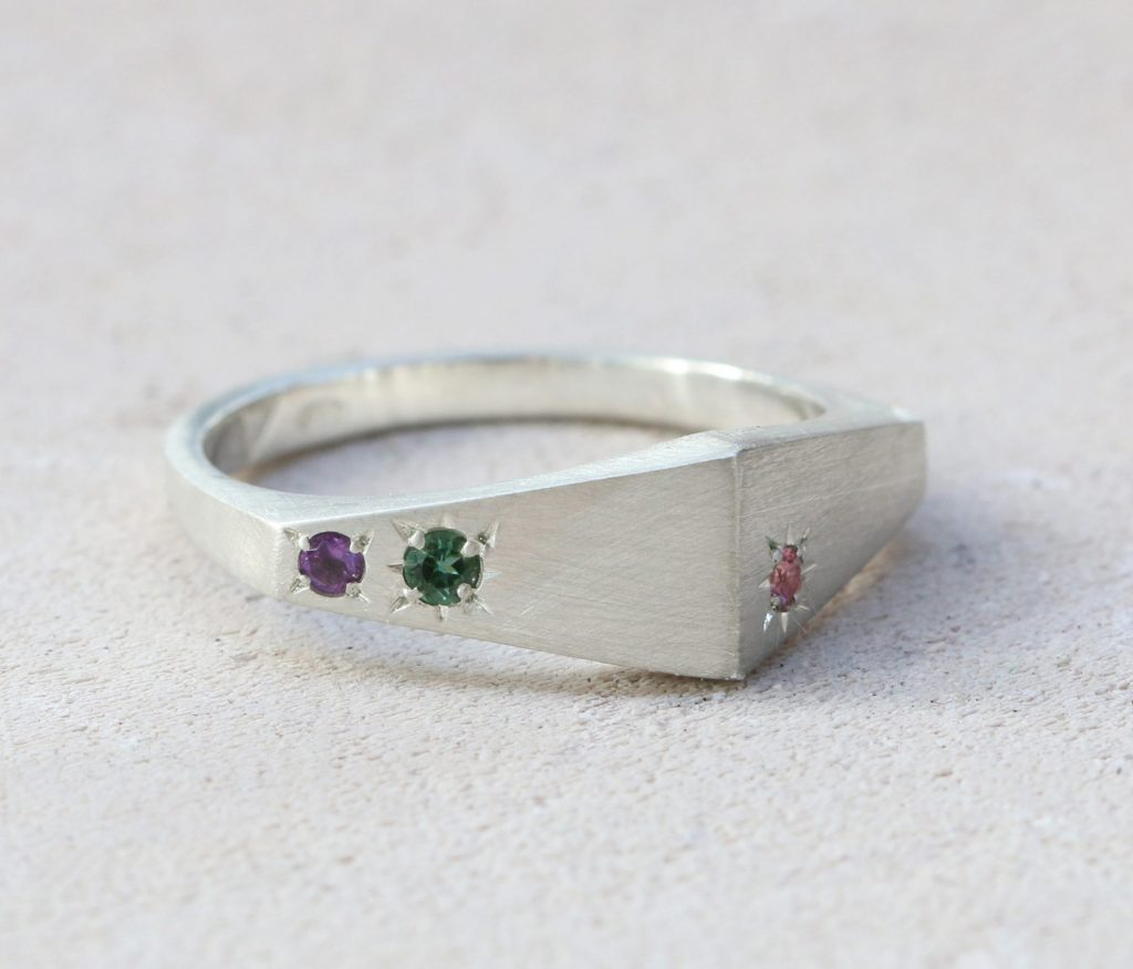 Two Faces Signet Ring, silver signet, tourmaline